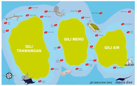 Gili Islands Dive Sites clickable Map Manta Dive Resort