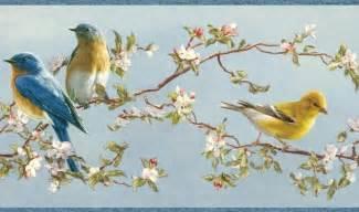 Wallpaper Border Hautman Brothers Songbird Blue Yellow Birds Pink