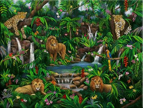Peaceful Jungle Artwork By Betty Lou Barry