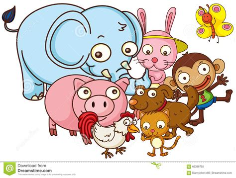 Different Kind Of Cute Animals Stock Vector Image: 65388755