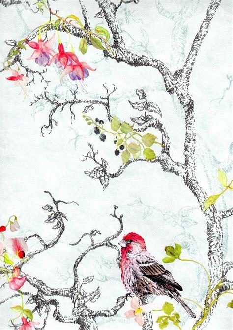Vintage, Bird & Floral Print, Vibrant Feature Wallpaper