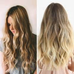 brown ombre balayage hairstyle with blonde highlight