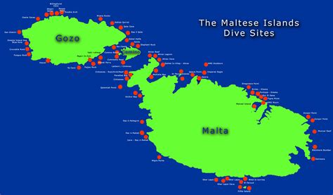 Maltese Islands Dive Sites Map malta • mappery