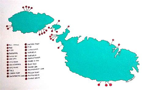 dive sites map malta Bezz Diving Malta