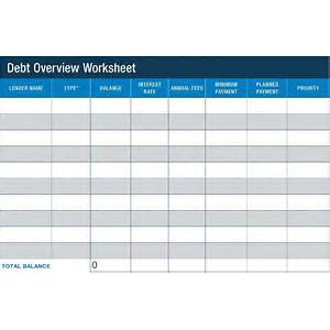 Pay Off Debt Printable Worksheet