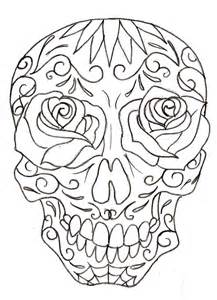 Sugar Skull Line Drawing 10 | Sugar Skull Tattoos