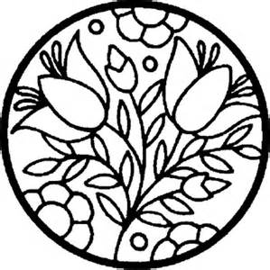 Flowers in a Circle Coloring Pages Sheets | Coloring