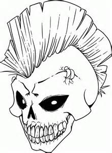 skulls with mohawks colouring pages