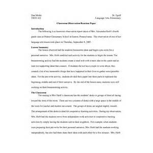 Classroom Observation Essay Example
