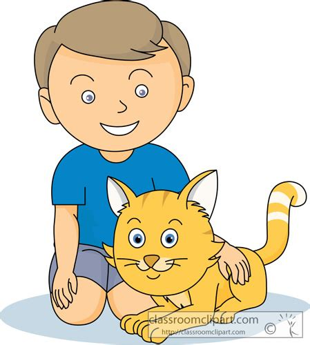 Boy And Cat Clipart