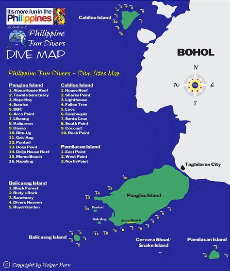 Dive Maps of Bohol Philippine Fun Divers Bohol