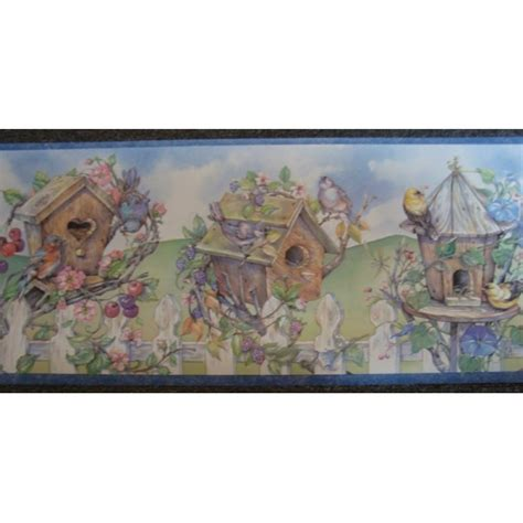 Houses Borders Border Garden Bird Houses & Picket Fence Wallpaper