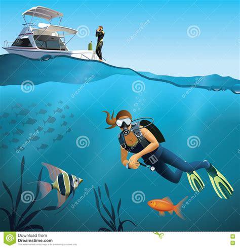 Underwater World And Diving Scene Stock Illustration