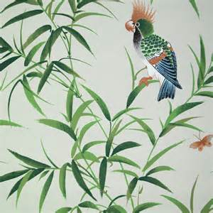 Bob Collins and Sons Green Bamboo & Birds Wallpaper, Set