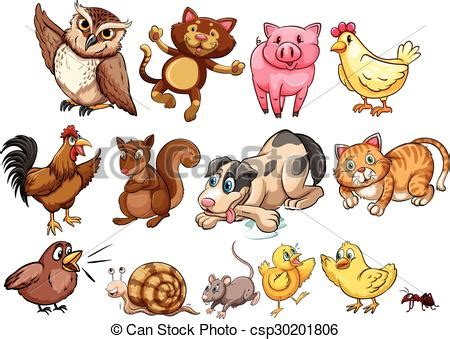 Vector Clipart of Different type of farm animal and pet illustration csp30201806 Search Clip