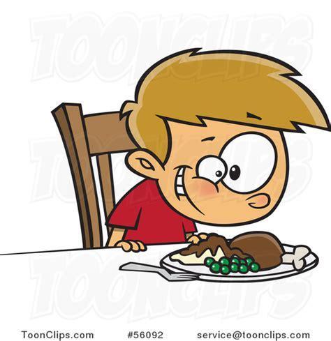 Cartoon White Boy Smiling down at His Turkey Dinner #56092