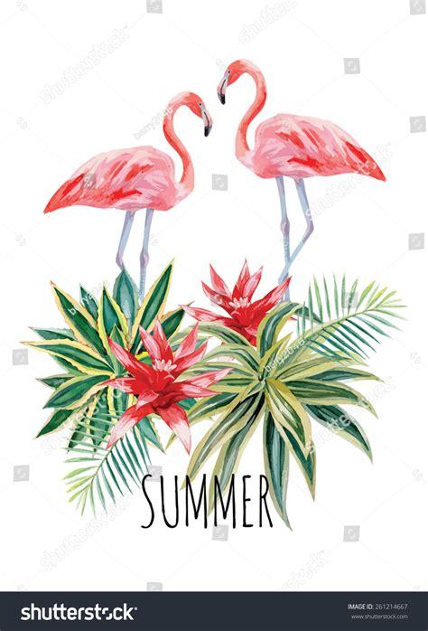 Exotic Tropic Bird Pink Flamingo Palm Stock Vector