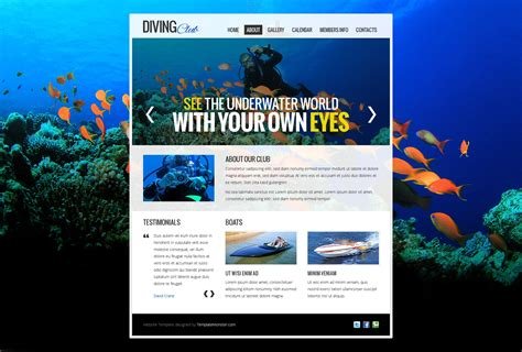 Free Website Template Diving Club