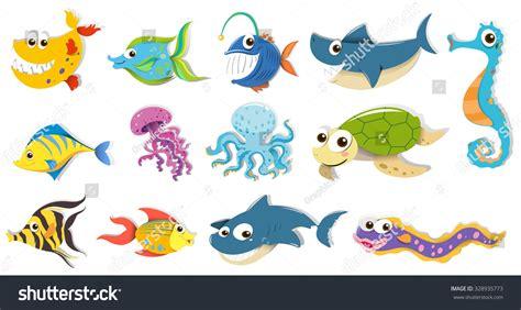 Different Kind Of Sea Animals Illustration 328935773