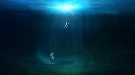 Images Rays of light Little girls Underwater world diving