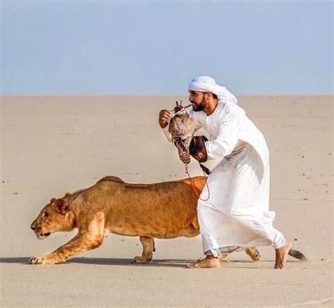 A Kuwaiti Arab and His Pets (Kuwait) Desert Men