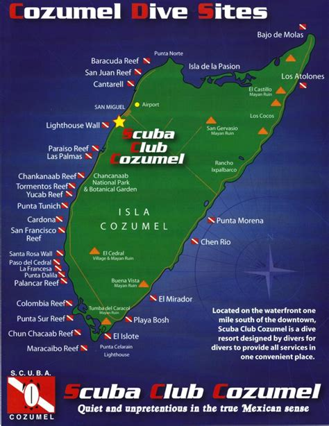 Cozumel Dive sites map from Scuba Club