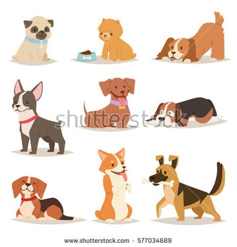 Funny Cartoon Dogs Characters Different Breads Stock Vector 577034689 Shutterstock