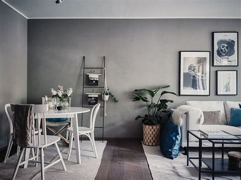 Small living room in grey and white Industrial Decor