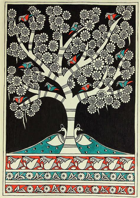 Authentic Indian Folk Art Madhubani Painting Night