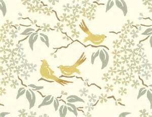 Birds Wallpaper, Pale Yellow Contemporary Wallpaper