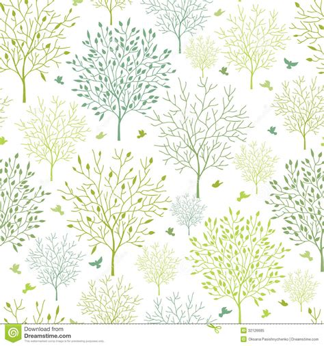 Spring Trees Seamless Pattern Background Royalty Free
