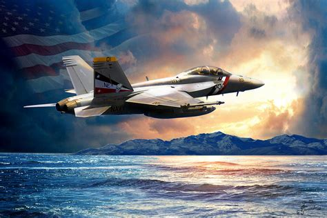 Bounty Hunter Fighter Jet, America The Beautiful Painting