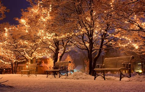 benches, street, snow, winter, city, lights, night
