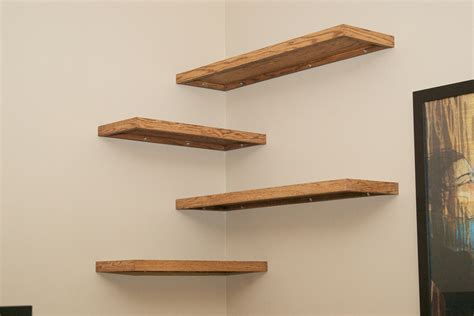 DIY Wood Floating Corner Wall Shelf For Spacesaver Small