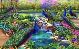 & Fantasy Garden wallpapers Peacocks & Fantasy Garden stock photos